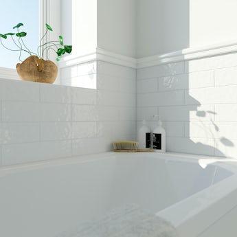 Laura Ashley Artisan white gloss wall tile 75mm x 300mm