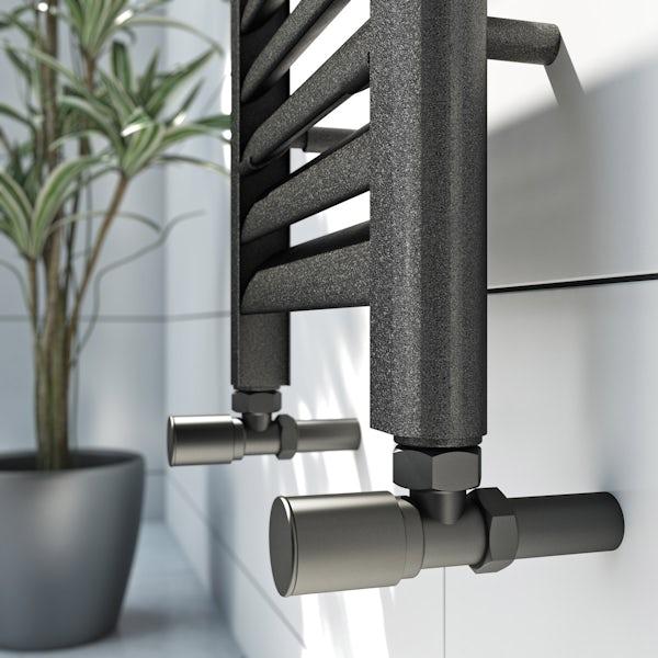 Mode Carter charcoal black heated towel rail 1600 x 300mm