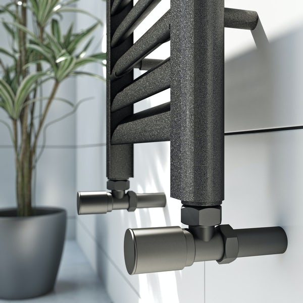 Mode Carter charcoal black heated towel rail 1600 x 300mm