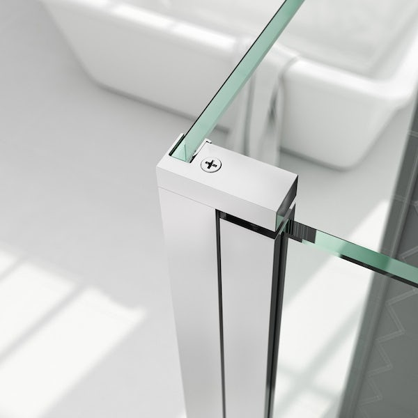 Mode 8mm walk in shower enclosure with tray and hinged return panel