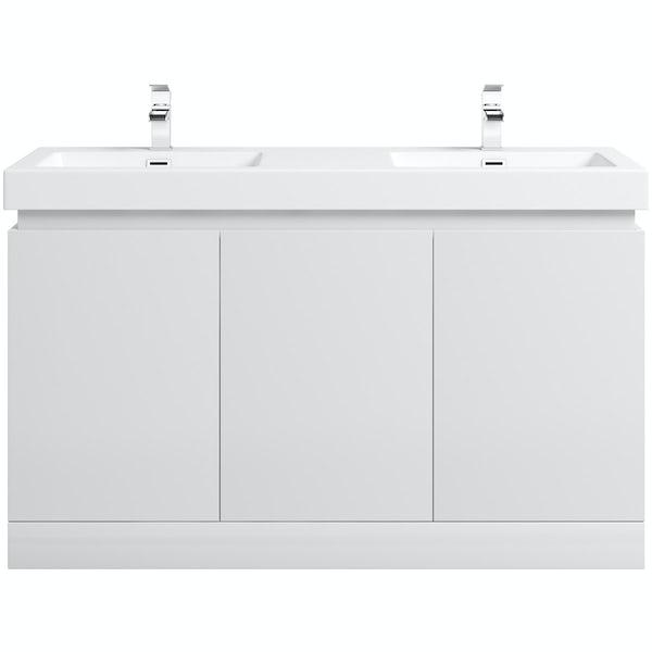 Mode Hardy white floorstanding vanity unit and basin 1380mm