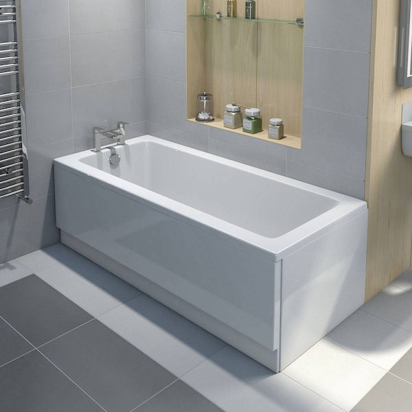 Kirke square edge single ended reinforced bath 1700 x 700 with reinforced front panel