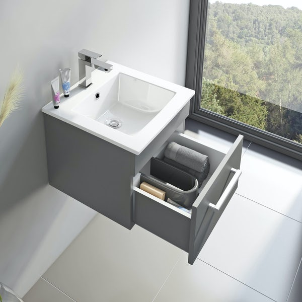 Orchard Derwent stone grey cloakroom vanity and mirror 600mm