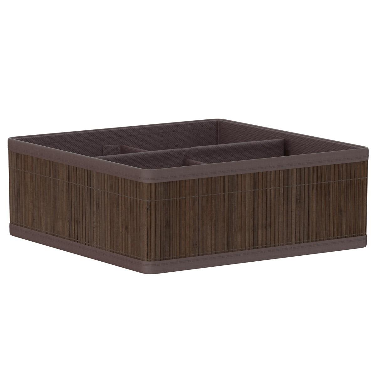 Natural bamboo 4 section dark brown storage basket