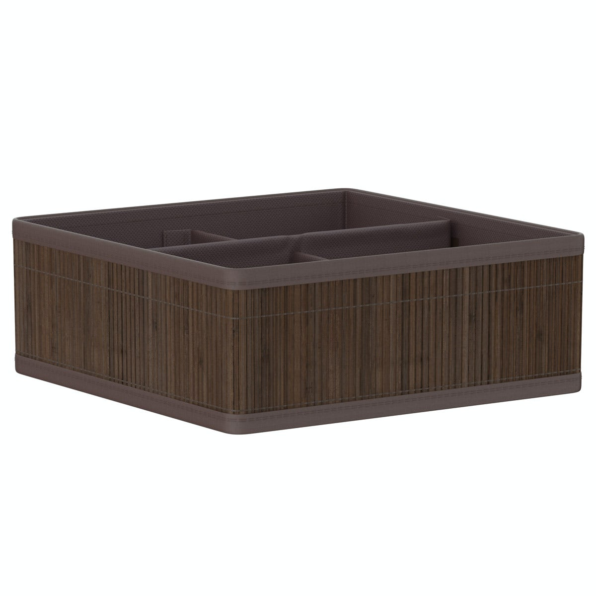 Orchard Natural bamboo 4 section dark brown storage basket