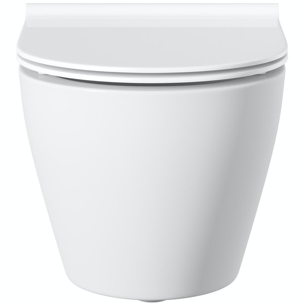 Mode Harrison wall hung toilet with soft close slim seat and mounting frame