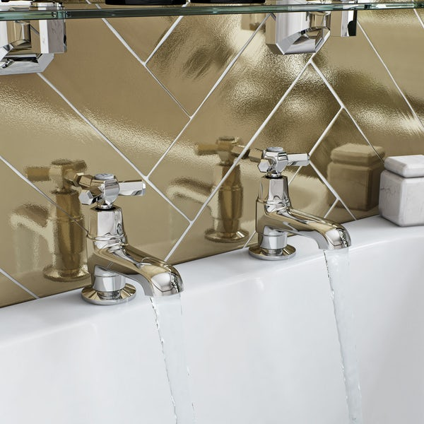The Bath Co. Beaumont wall mounted basin mixer and bath pillar tap pack