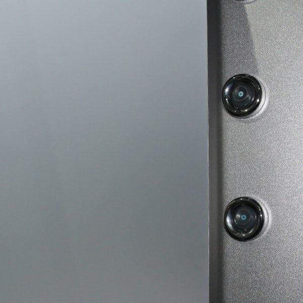 Insignia satin grey backed quadrant hydro-massage shower cabin 900 x 900
