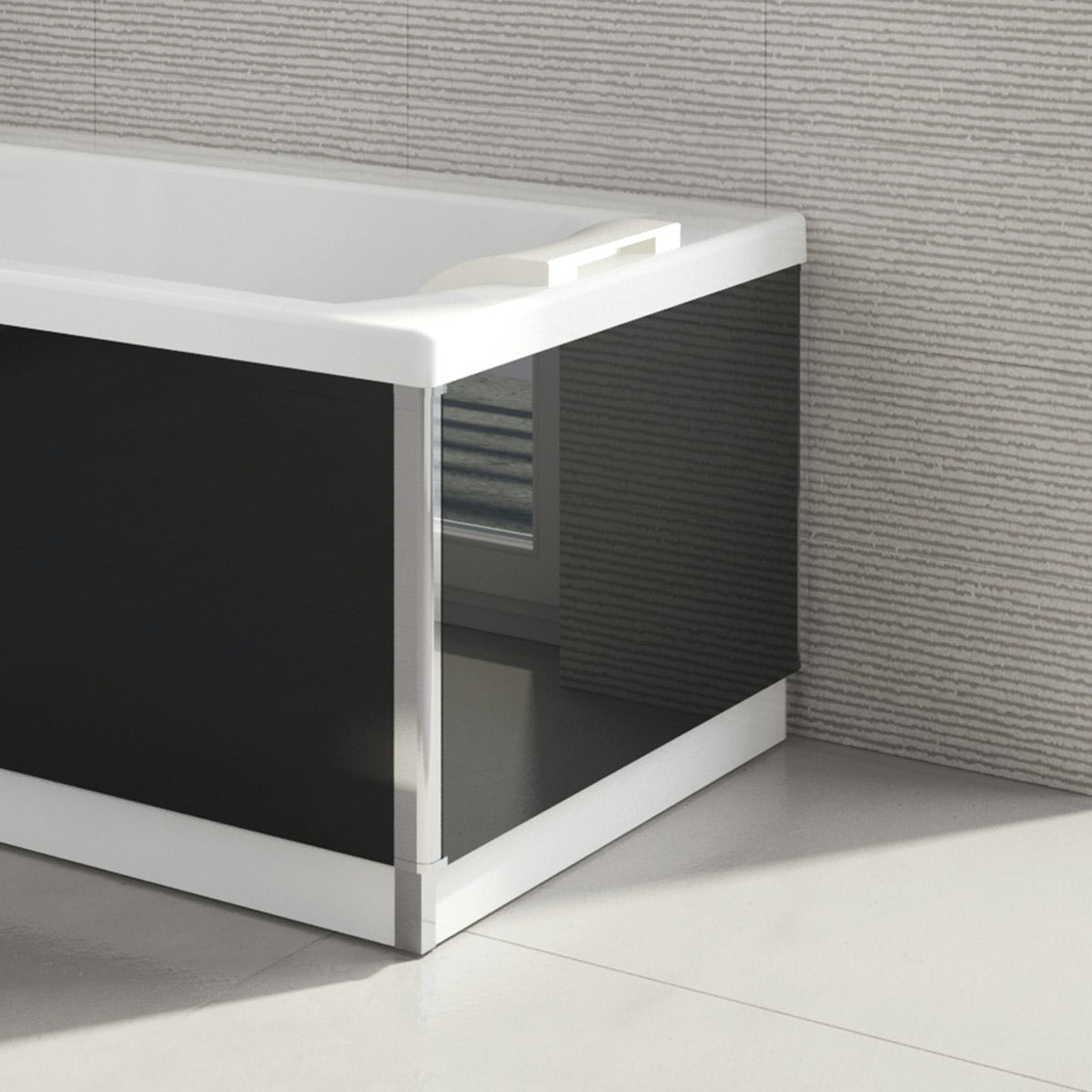 Kineduo black glass end panel 750mm