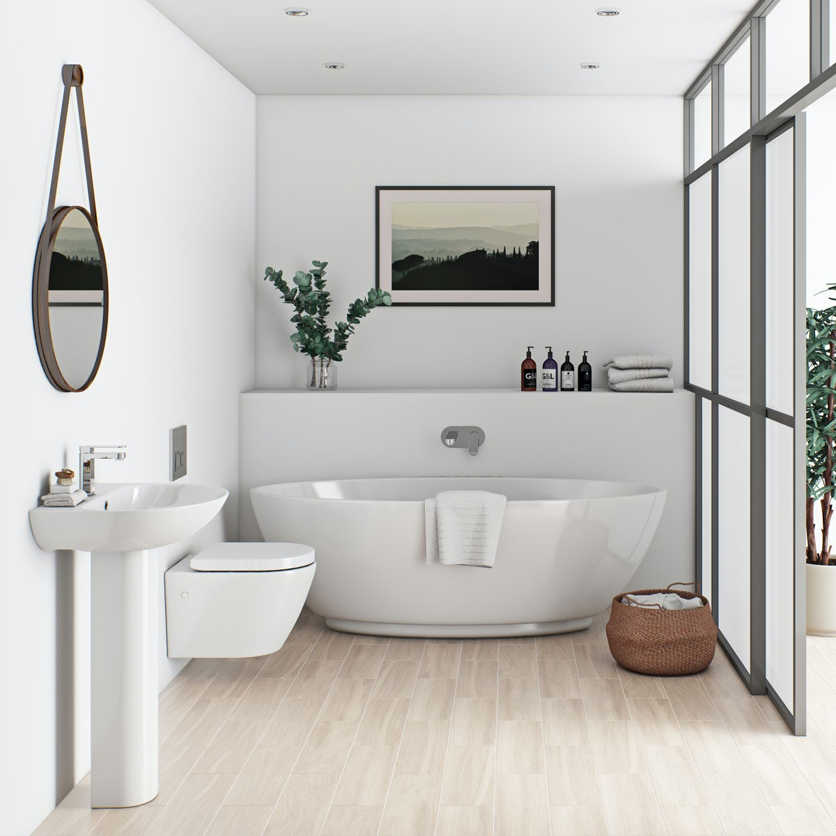 Mode harrison bathroom suite with freestanding bath for Bathroom suites