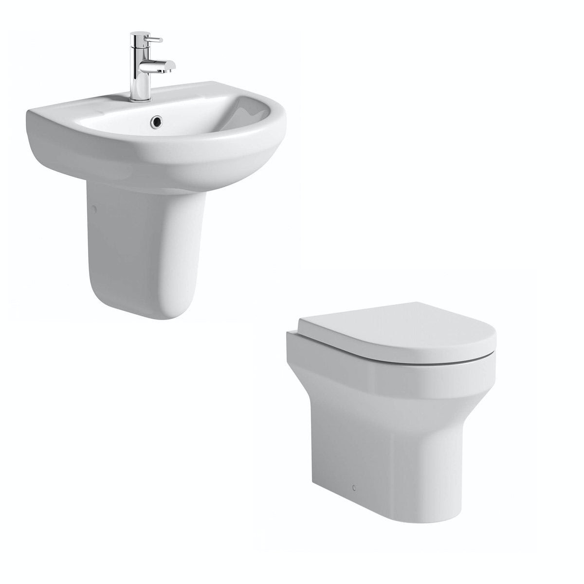 Orchard Wharfe back to wall cloakroom suite with semi pedestal basin 550mm
