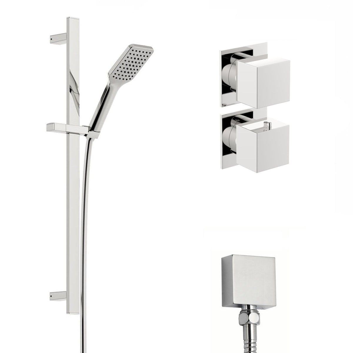 Mode Cooper thermostatic twin shower valve and slider rail set