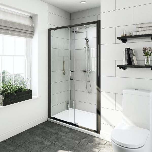6mm black sliding shower door 1200mm
