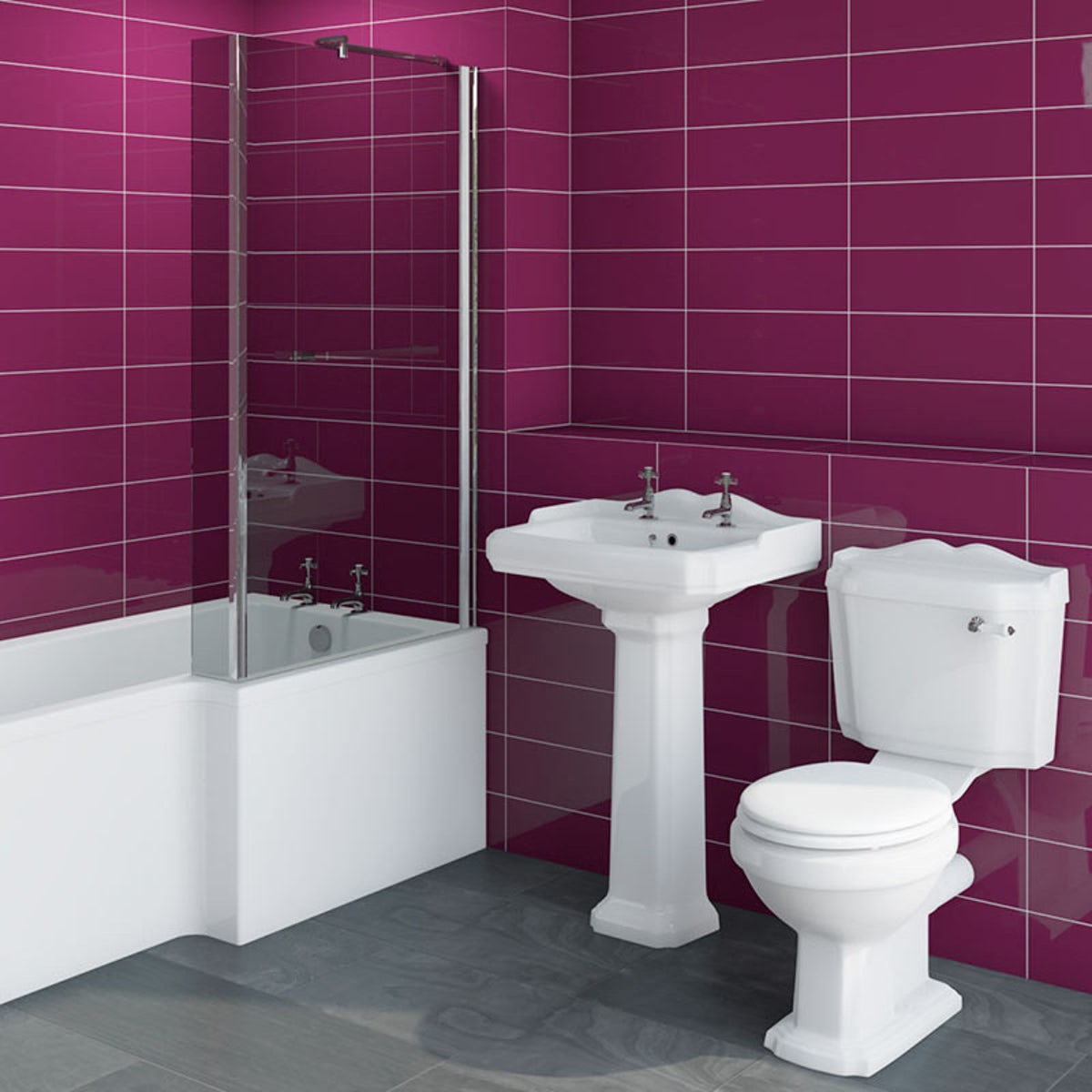 Pink bathroom suite - Winchester Bathroom Suite With Right Handed Boston L Shaped Shower Bath 1700 X 850