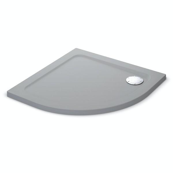 Mira Flight Safe low level anti-slip quadrant shower tray 900 x 900 in Titanium grey