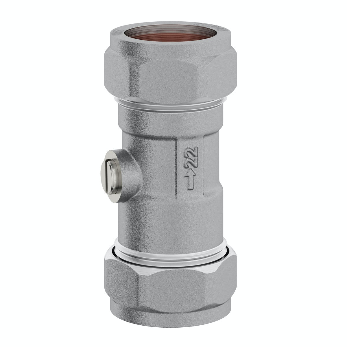 Straight isolation valve 22mm x 22mm