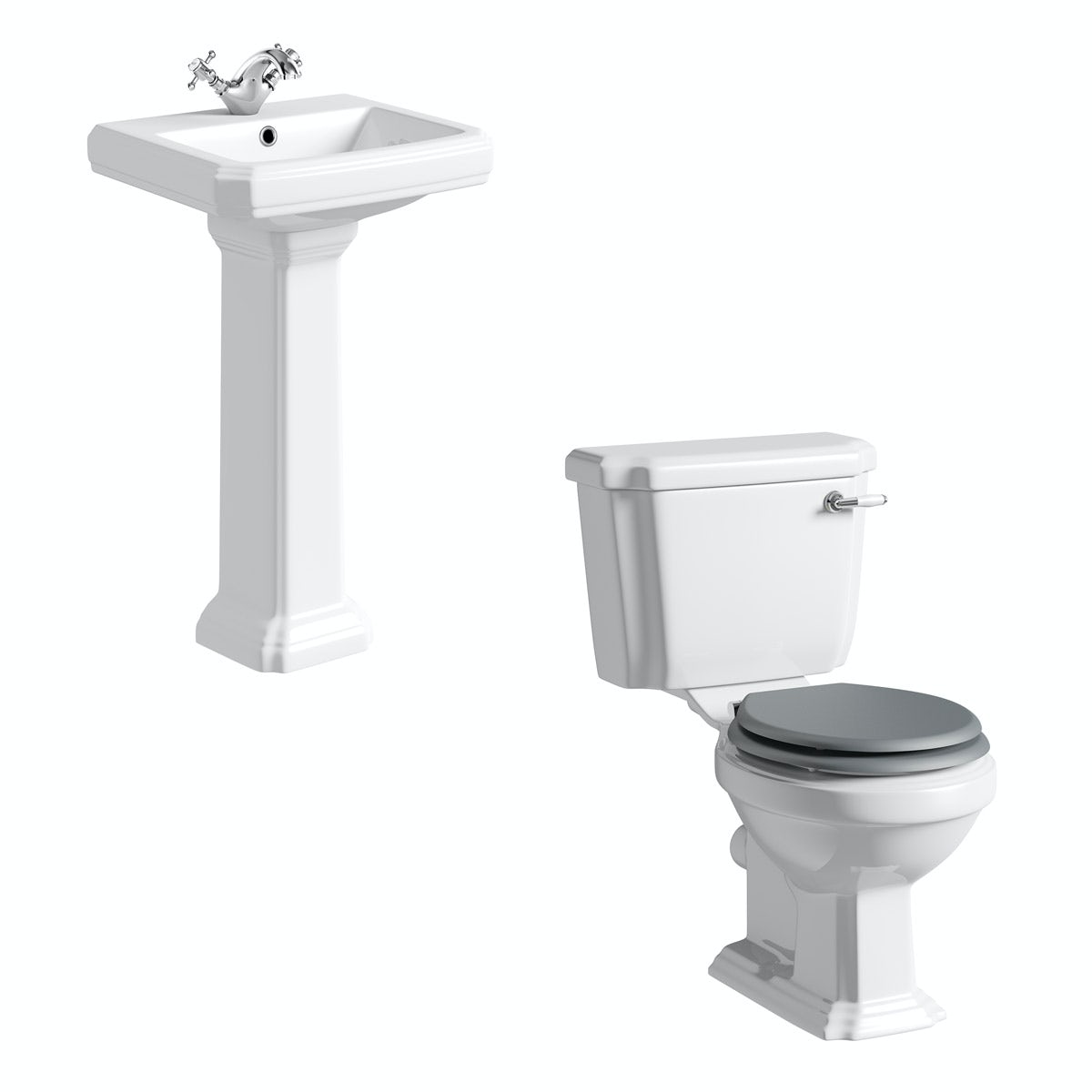 The Bath Co. Dulwich cloakroom suite with grey seat and full pedestal basin 500mm