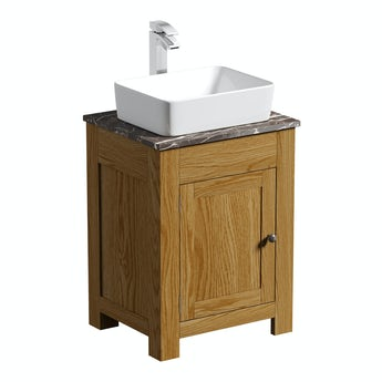 The Bath Co. Chester oak washstand 600mm with brown marble top and Baikal basin