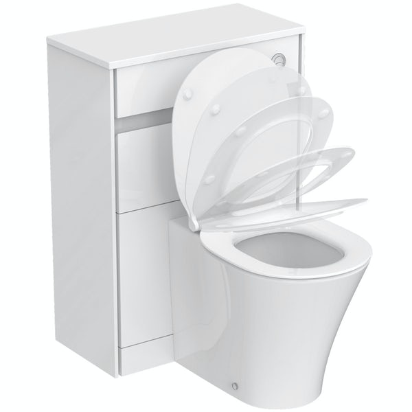 Ideal Standard Concept Air gloss and matt white back to wall unit, concealed cistern, push button and toilet with soft close seat