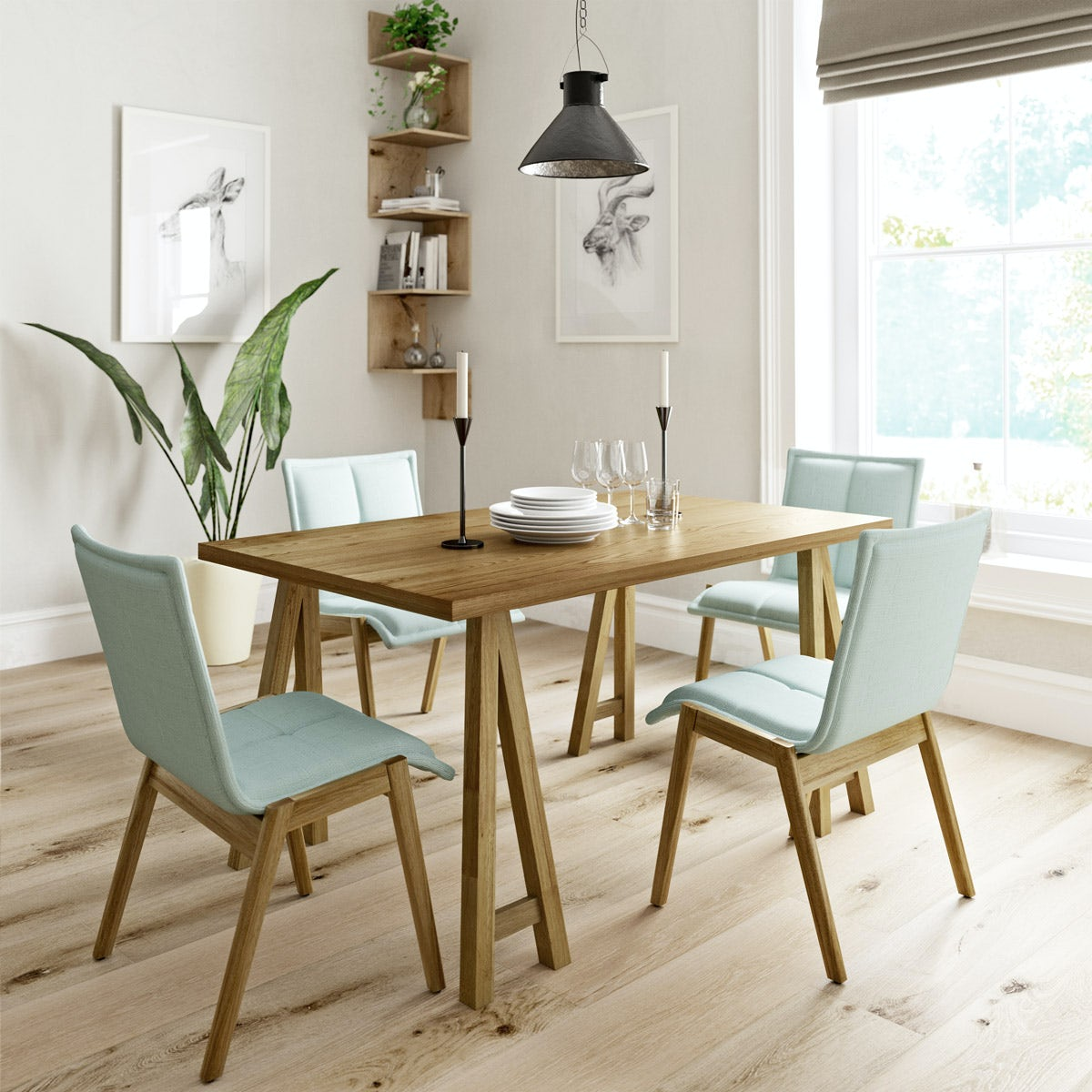 Hudson oak trestle table with 4 x Hadley light cyan dining chairs