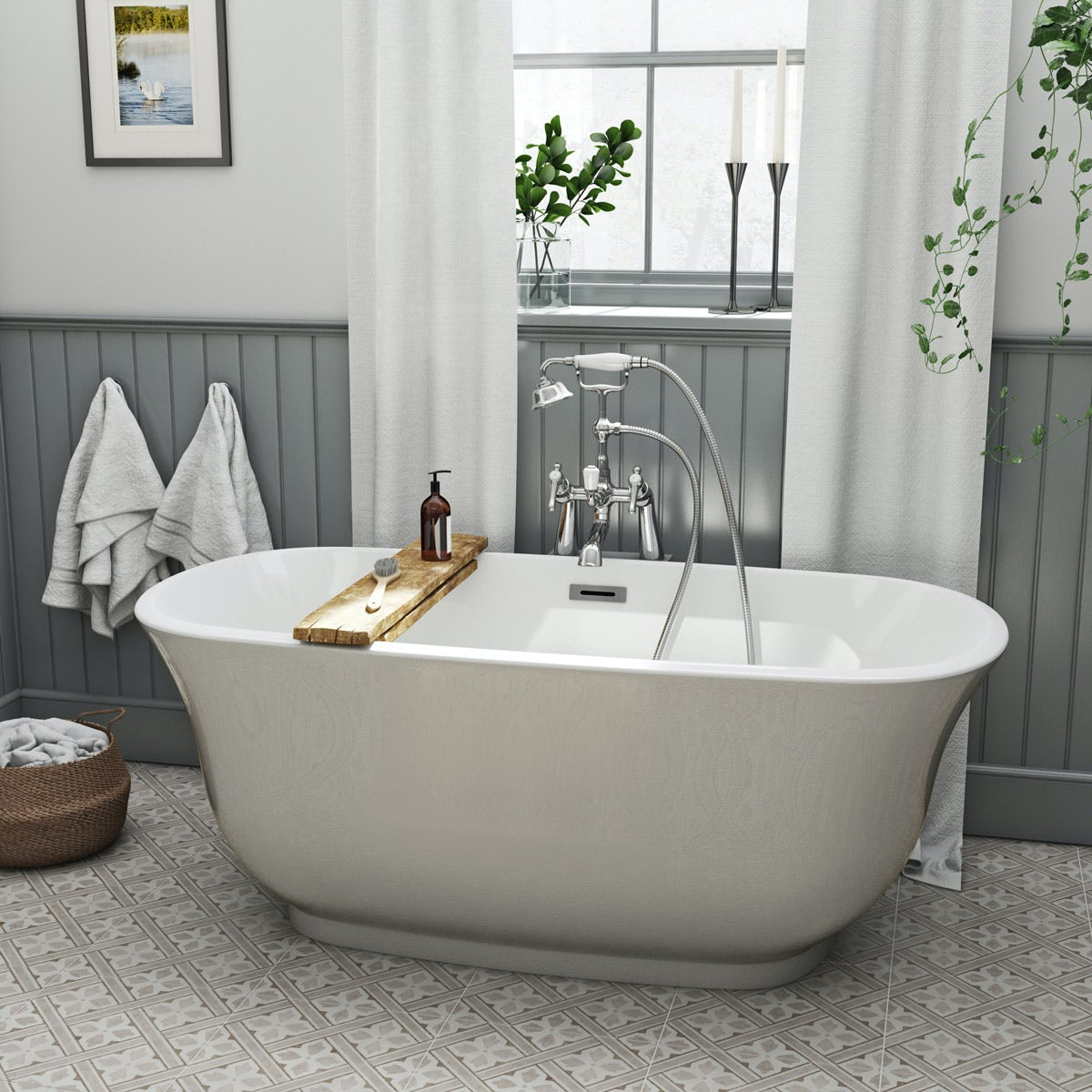 The bath co camberley pearl coloured traditional for Coloured free standing bath