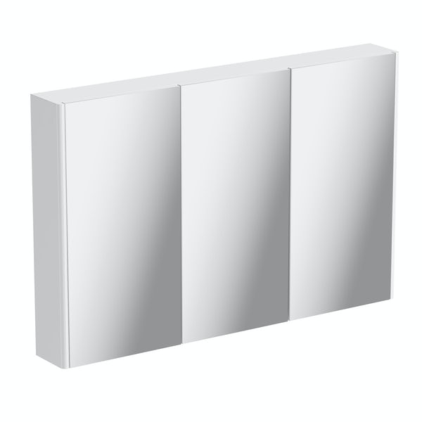 1000mm white curved mirror cabinet