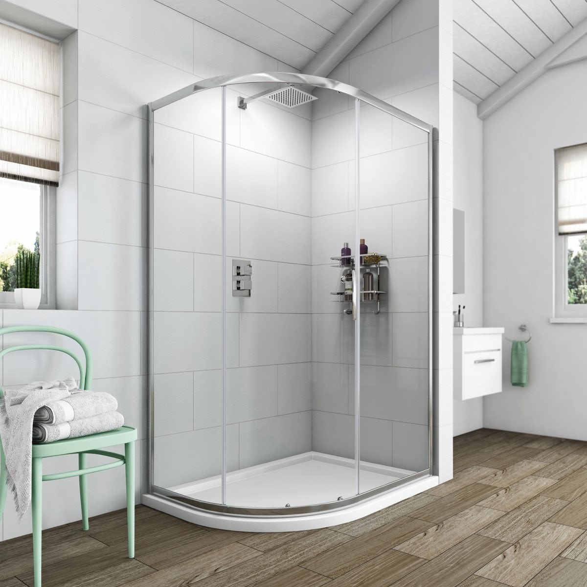 Clarity 6mm one door offset quadrant 1200 x 900 with for Small baths 1200