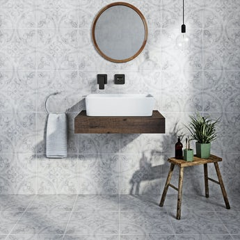 Ted Baker Partridge matt grey wall and floor tile 331mm x 331mm