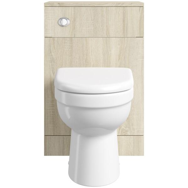 Eden oak slimline back to wall unit with Energy toilet