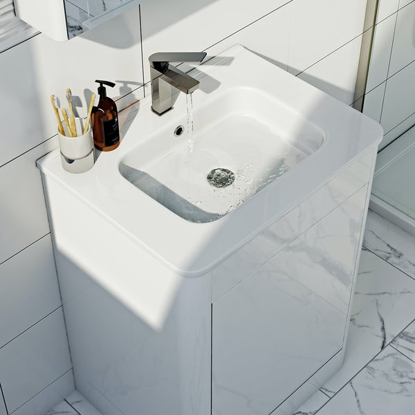 Carter ice white 600 floor mounted vanity unit with basin