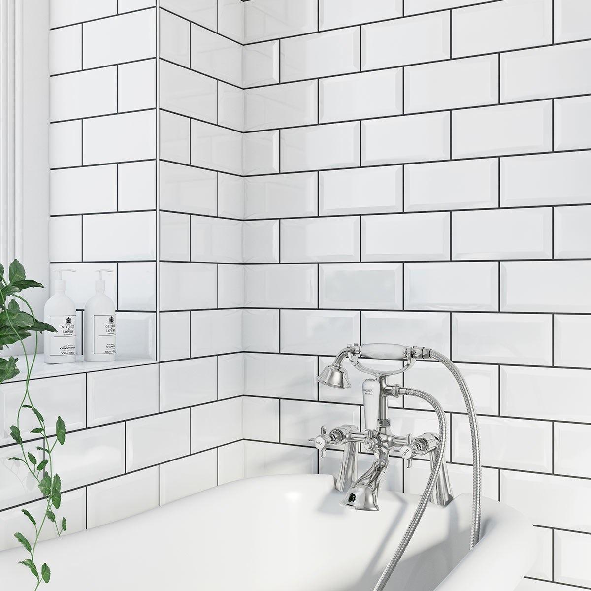 British Ceramic Tile Metro bevel white gloss tile 100mm x 200mm