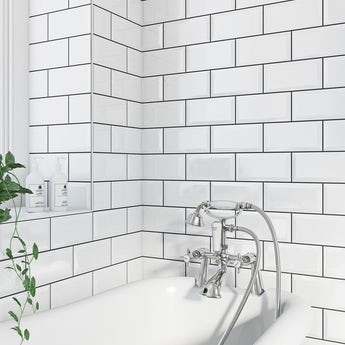 Metro bevel white gloss tile 100mm x 200mm