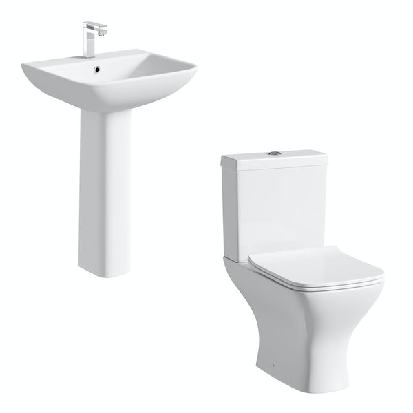 Derwent Square close coupled toilet and full pedestal basin suite 550mm