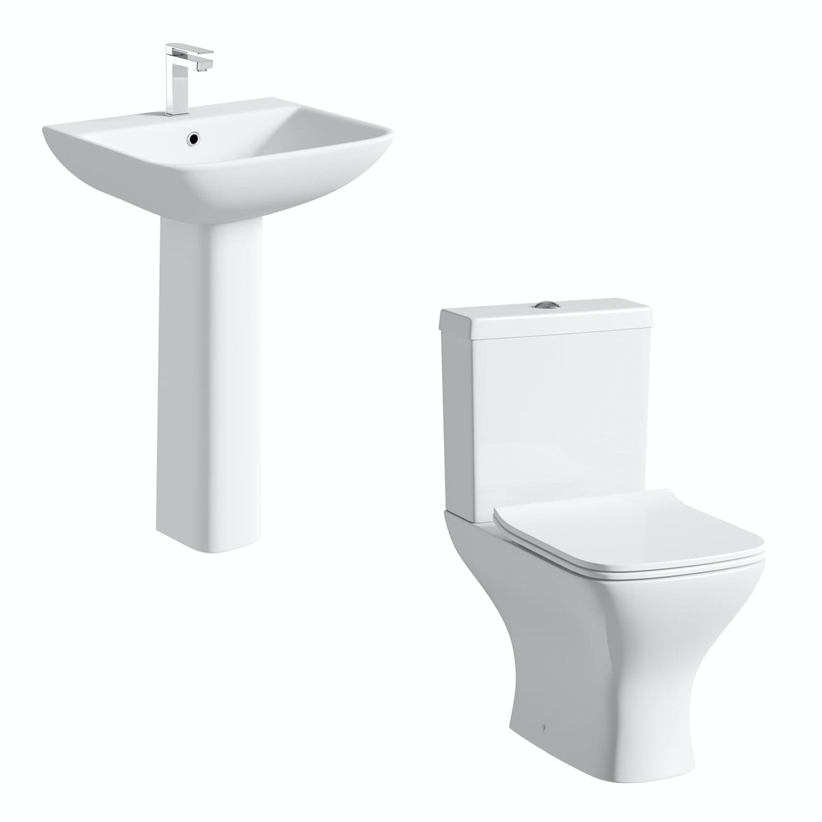 Orchard Derwent square compact cloakroom suite with full pedestal basin suite 550mm