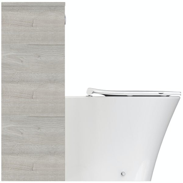 Ideal Standard Concept Air wood light grey back to wall unit, concealed cistern and push button