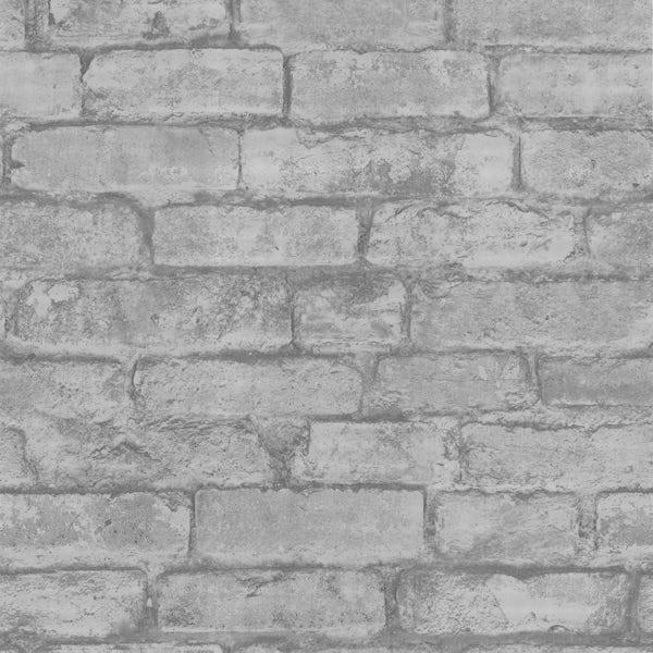 Fine Decor rustic brick sidewall cream grey wallpaper