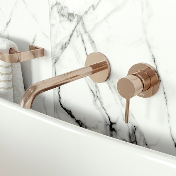 Mode Spencer round wall mounted rose gold bath mixer tap