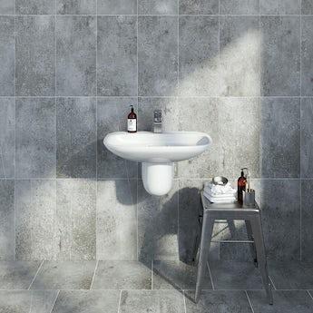 Metropolis dark grey matt tile 248mm x 498mm