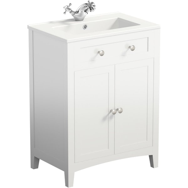 Camberley White 600 vanity unit and mirror cabinet offer