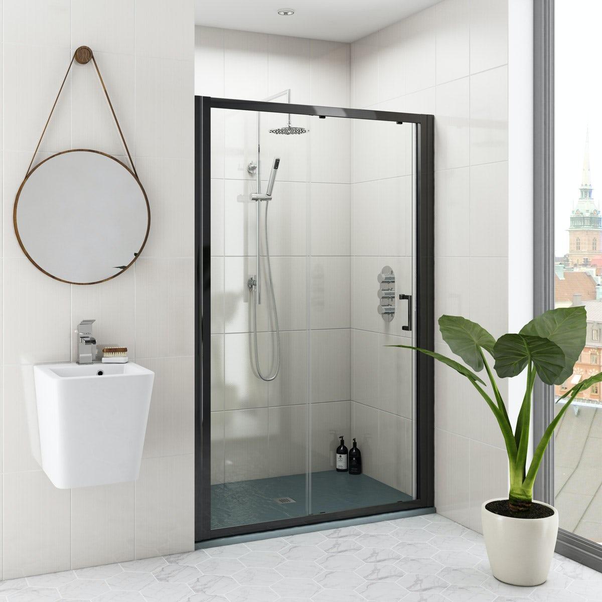 Mode Black 6mm Sliding Shower Door With Grey Slate Effect