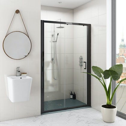 Mode black 6mm sliding shower door with grey slate effect tray 1200 x 800