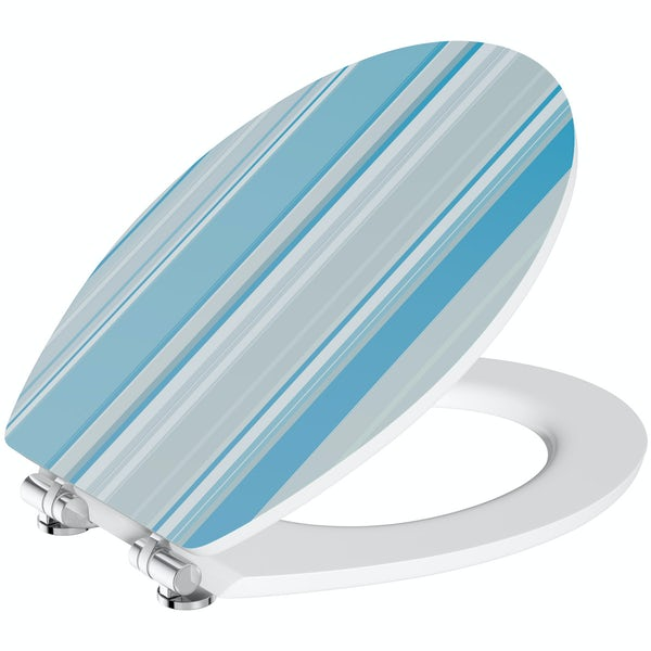 Blue stripe acrylic toilet seat with soft close quick release hinge