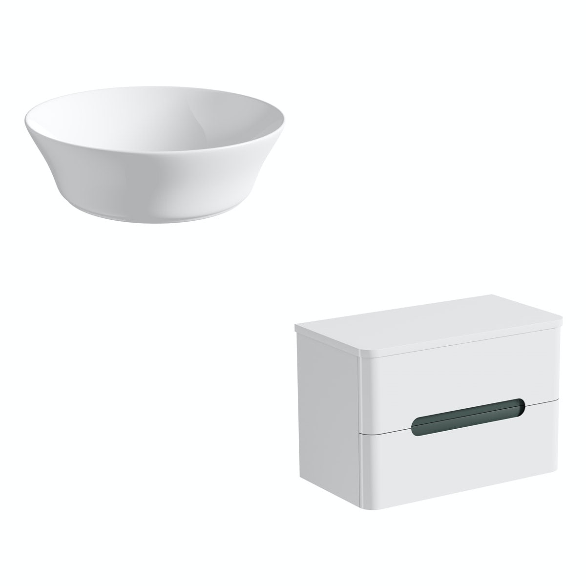 Mode Ellis slate wall hung countertop drawer unit 800mm with Bowery basin