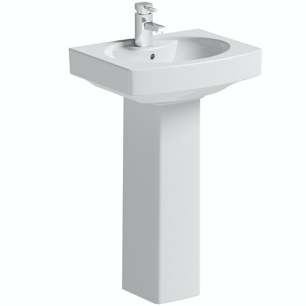 Wye close coupled toilet suite with full pedestal basin 550mm