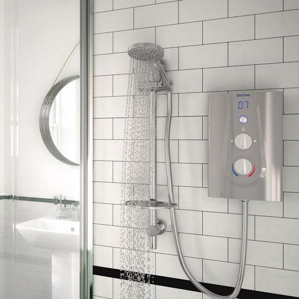 Bristan Joy 9.5kw thermostatic electric shower metallic silver