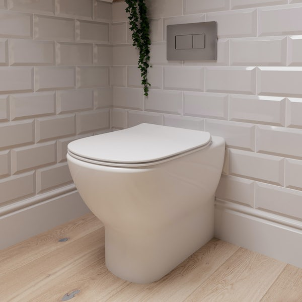 Ideal Standard Tesi back to wall toilet with Aquablade, soft close toilet seat, concealed cistern and flush plate