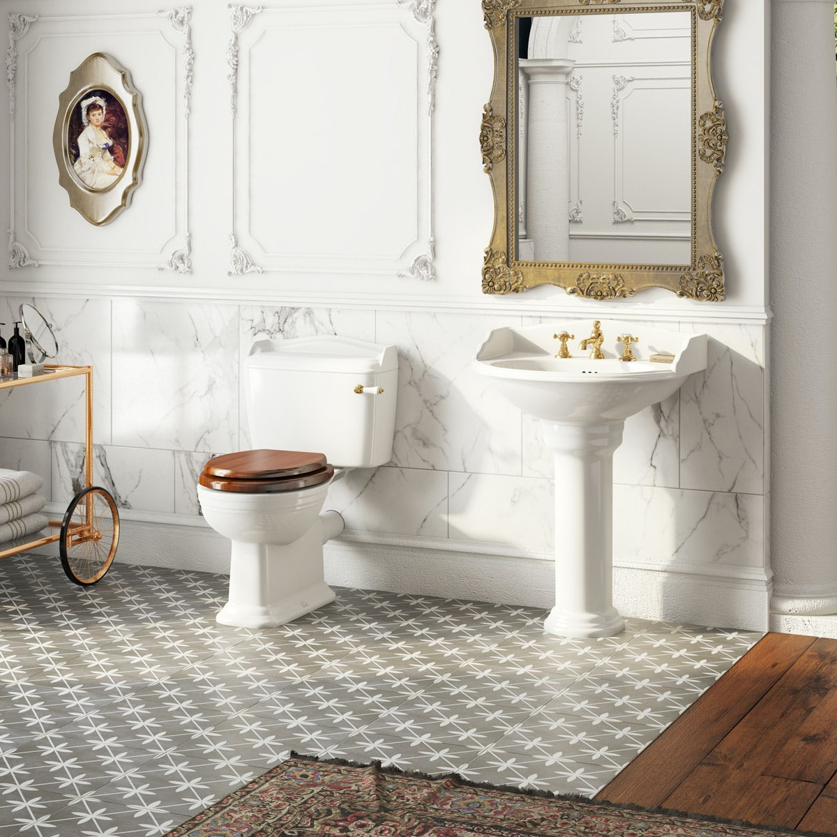 Belle de Louvain Bellini close coupled toilet and full pedestal suite with incalux fittings and taps