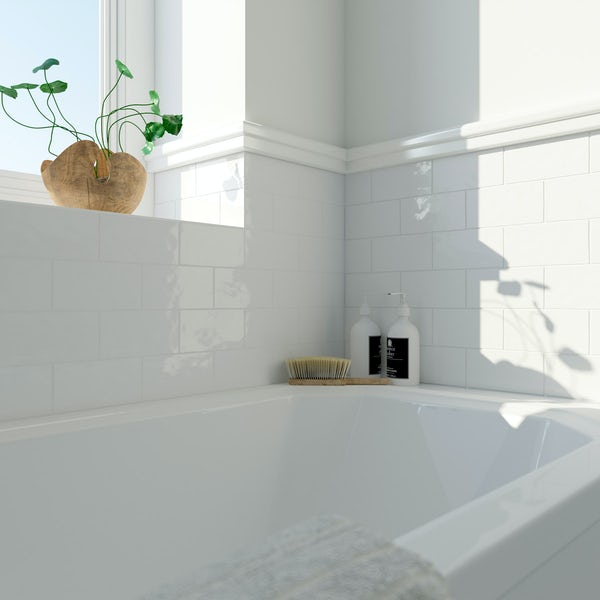 Laura Ashley Artisan white wall tile 75mm x 150mm