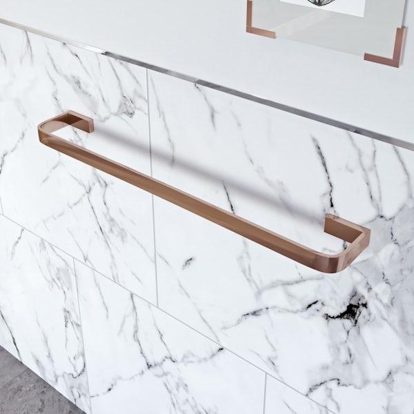 Mode Spencer rose gold square single towel rail 600mm