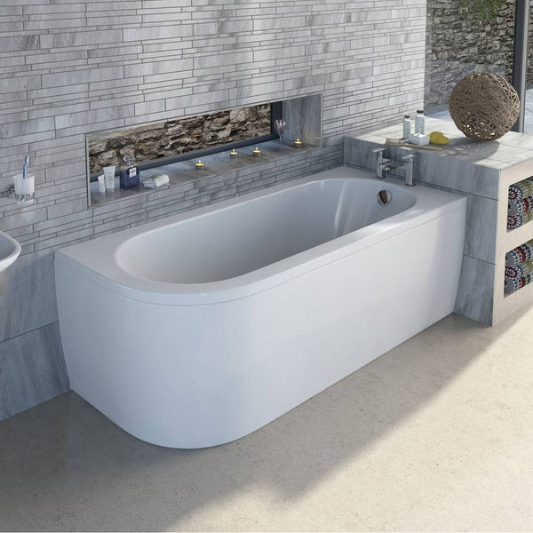 Cayman D shaped right handed single ended bath 1700 x 750 with panel
